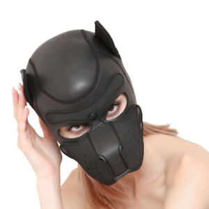Soft-Padded-Rubber-Neoprene-Puppy-Cosplay-Role-Play-Dog-Mask-Full-Head-with-Ears