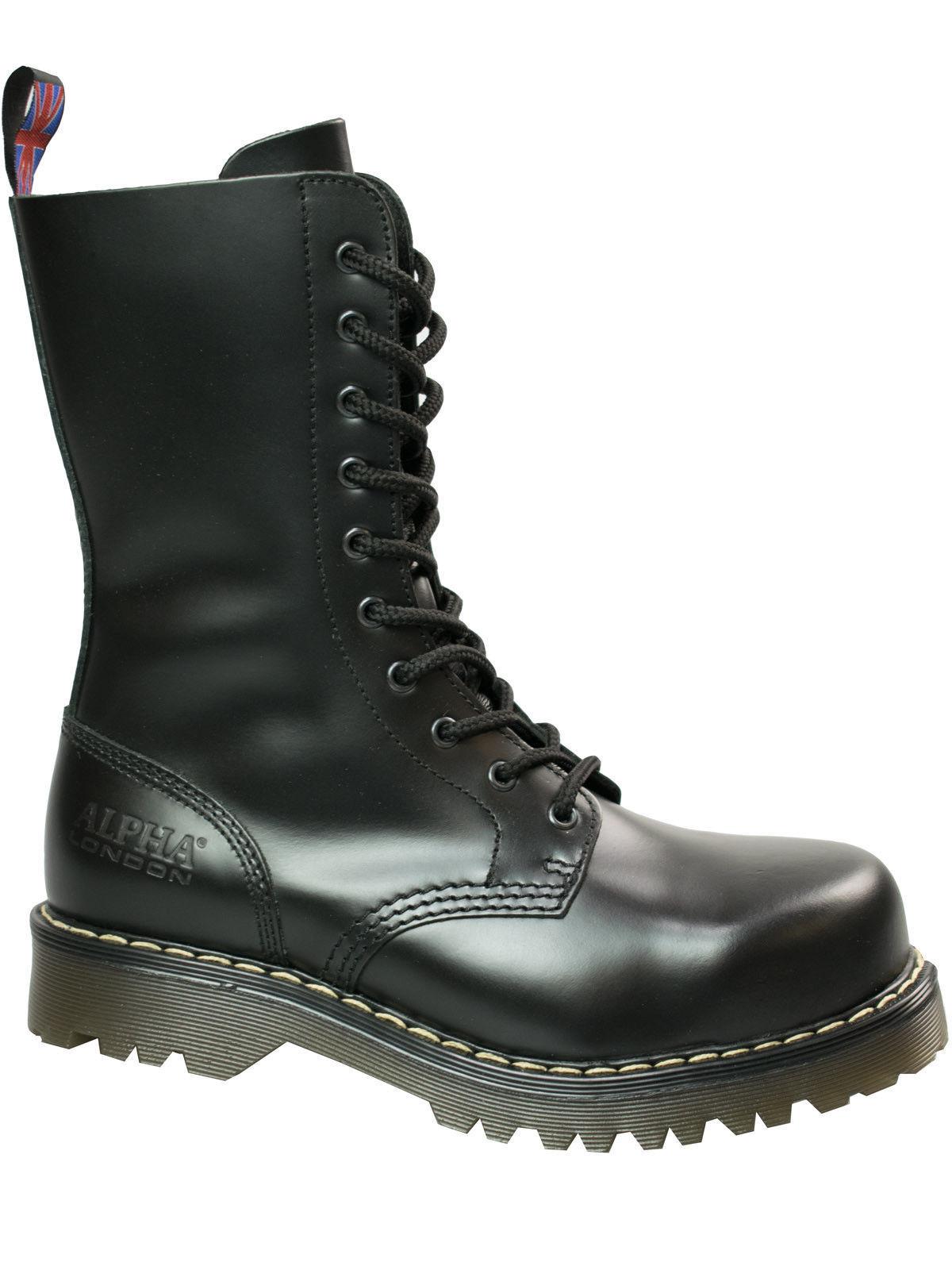 Alpha London 10-loch Boot 4428 Mit Stahlkappe Beige Sohle   Beige Naht  5049