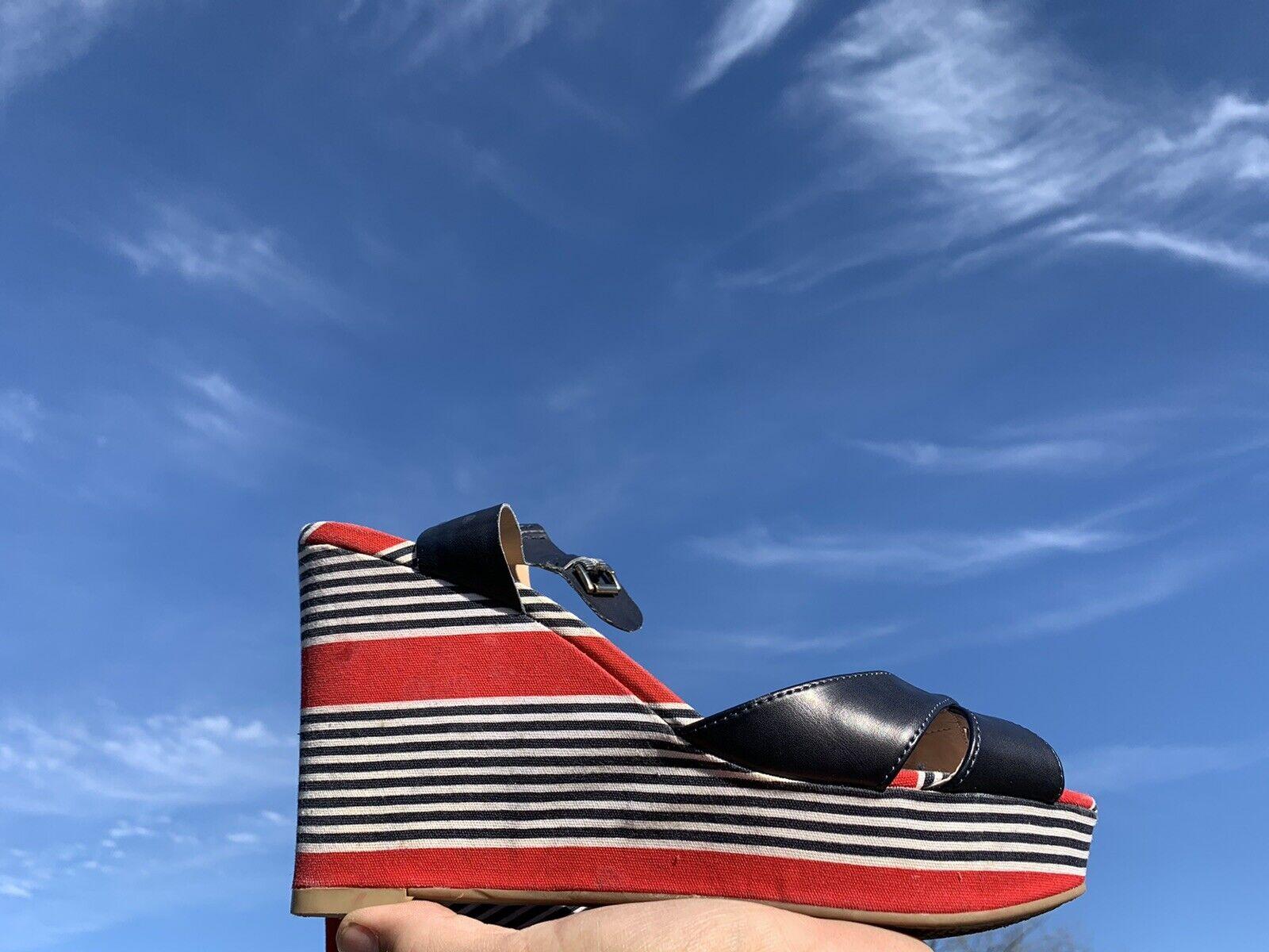 TOMMY HILFIGER Red White Blue Logo Striped Wedges… - image 4