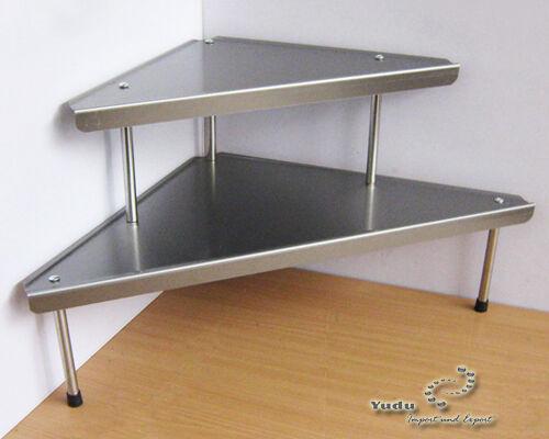 Eckregal Küchenregal dreieckig 2 Ebenen Edelstahl