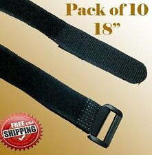 "10x 18"" Black Fastener Cable Tie Down Straps Reusable Cord Hook & Loop"