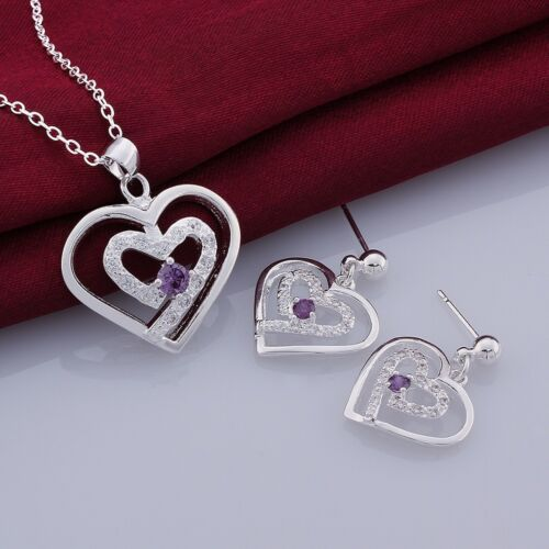 Elegant 925 Sterling Silver Filled Stamped CZ Heart Necklace//Earrings Sets S422