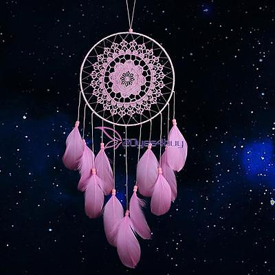 Handmade Dream Catcher with Feathers Wall Hanging Decoration Car Ornament Pink