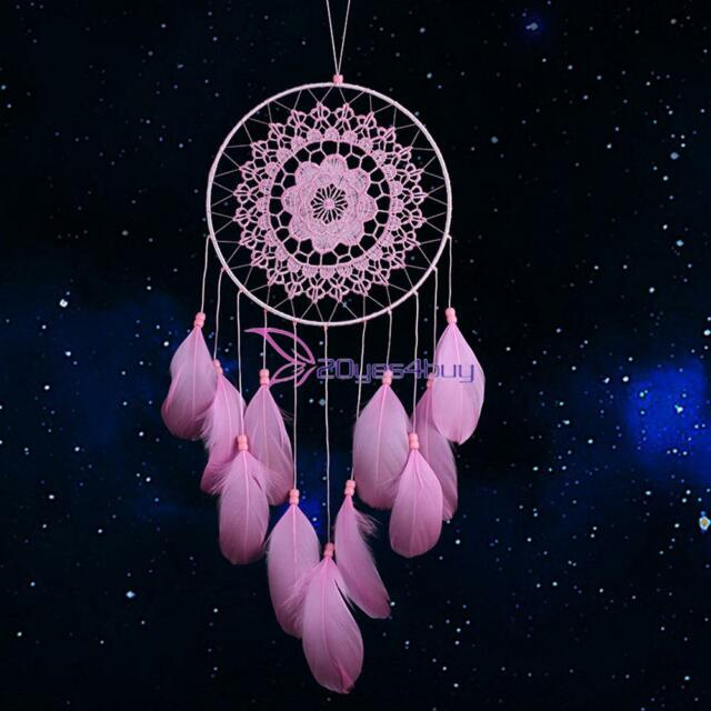 Pink Handmade Lace Style Dream Catcher Feather Bead Hanging Decoration Ornament