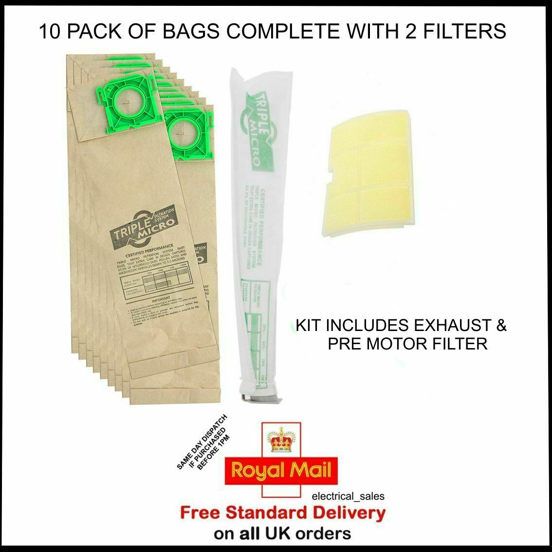 FITS SEBO X1 X4 X5 VACUUM CLEANER DUST BAGS x 10 /& MOTOR FILTER