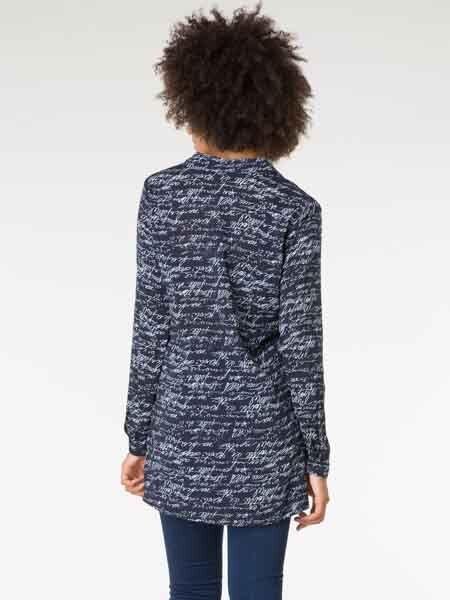 Viscose Camicia di yest, yest, yest, Tg. 40 44 46 Blu Scuro Bianco Stampato Camicia 29820 Camicia 7dc46f