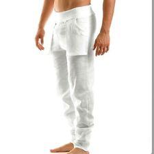 Modus Vivendi Men's White 100% Linen Pants Summer Beachwear