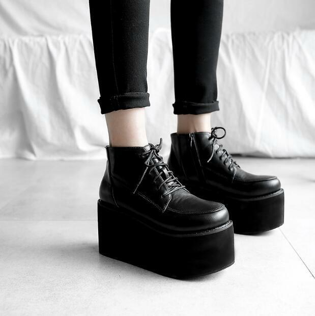 Womens Wedge High Heels Platform Punk Lace Up Ankle Boots Pumps Creepers Retro