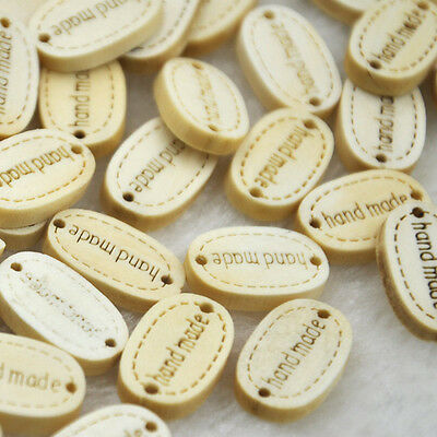 "10/50/100/500pcs 19MM ""Handmade"" Wood Buttons 2Holes Sewing Crafts Accessories"