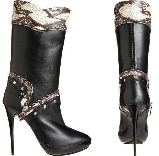 1875 Tabitha Simmons biker bottes high heels with zipper real snakeskin  1,875.