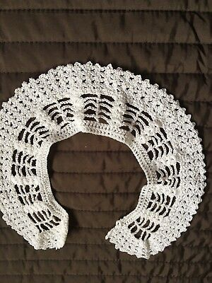 Imparato White Non Utilizzati Hand Crocheted Collare-mostra Il Titolo Originale