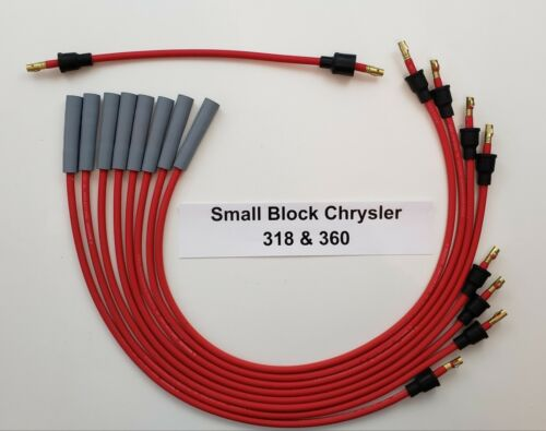 CHRYSLER 318 360 RED 8mm Spiral Core Spark Plug Wires for Points Cap USA