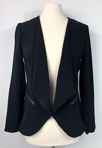 Elodie-womens-blazer-jacket-M-Med-black-jacket-open-drape-front-career-work