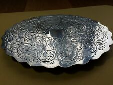 Silver Plate W P C & Crown Stamp  Floral Etched Trivet
