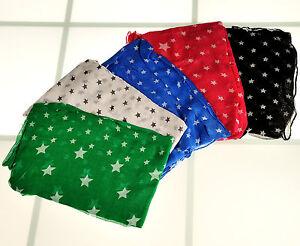Schal Halstuch  Tuch Pareo Stern grün weiss schwarz blau rosa neu *065*