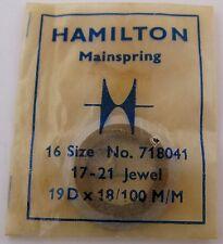 Hamilton 17-21 jewels 16s model 71804 Mainspring 1 piece * T end *