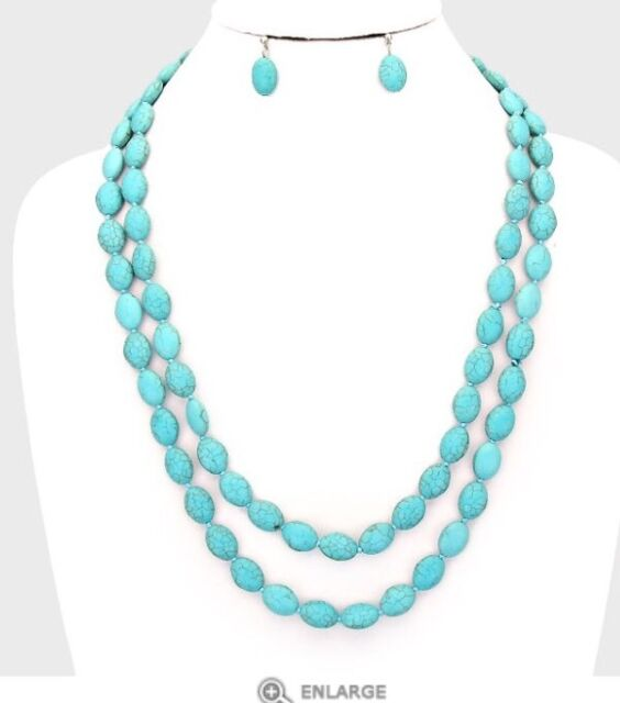 """50"""" Very Long Artificial Turquoise Blue Bead Chunky Necklace Earrings Set"""
