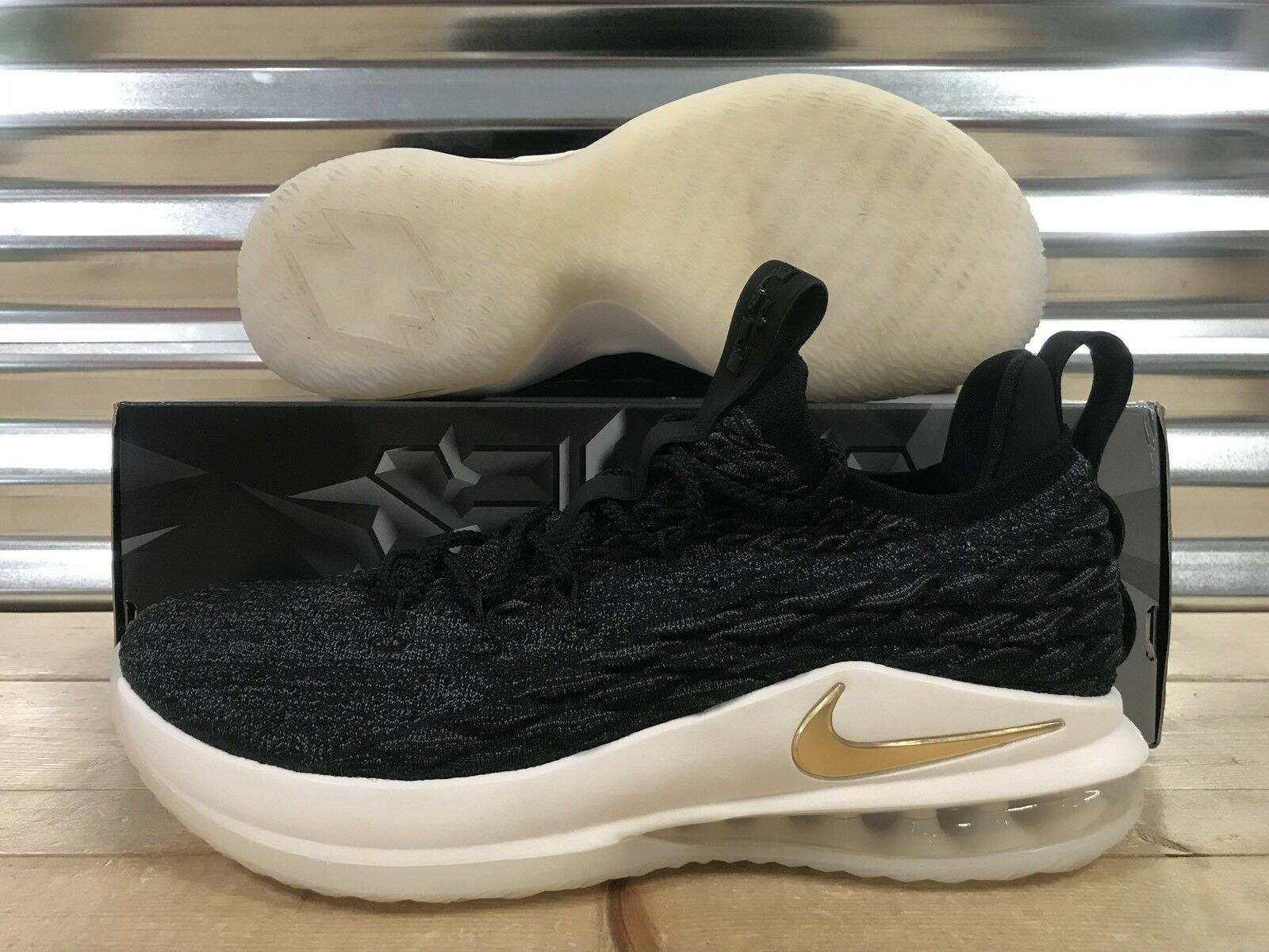 Nike Lebron XV 15 Low Shoes Black Metallic Gold Phantom SZ ( AO1755-001 )