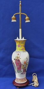 Antique-Signed-Chinese-Famille-Rose-Porcelain-Adjust-Double-Socket-Table-Lamp