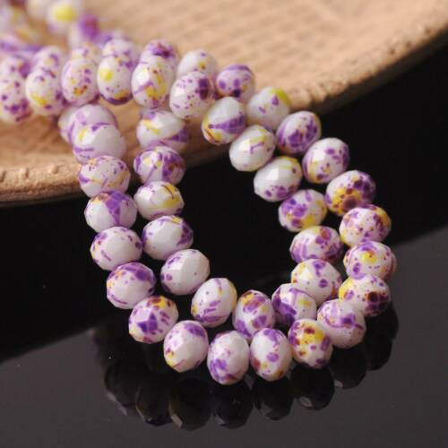 8x6mm 50pcs Rondelle Faceted Spots Coated Glass Loose Spacer Beads DIY Craft