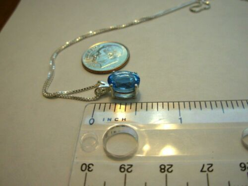 SWISS BLUE TOPAZ PENDANT NECKLACE  EARTH MINED 10x8MM GEM US MADE PENDANT
