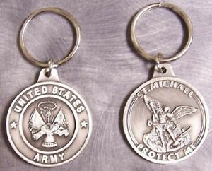 ARMY SAINT MICHAEL PEWTER KEY RING U.S