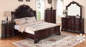 Details about King Size 7 pc Sheridan Collection Traditional Cherry Bedroom  Set NEW! Furniture
