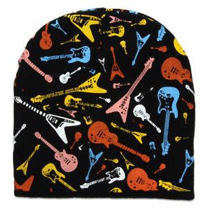 Guitars-Cuffless-Short-Beanie-Black