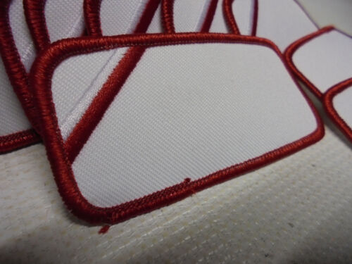 50 Count Printable Embroidery Name Patch Blank White//Red Border Iron//Sew On