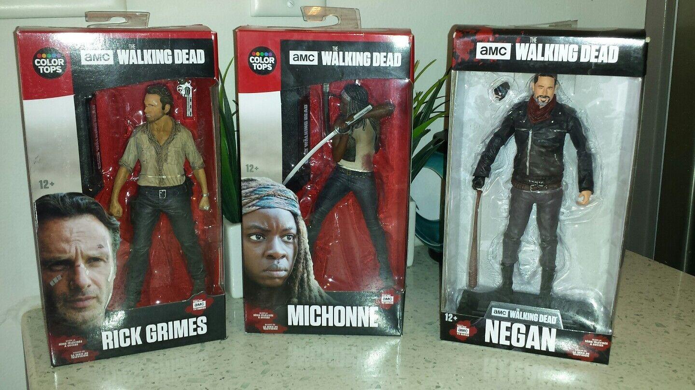 McFarlane AMC THE WALKING DEAD DEAD DEAD 7  Action Figure COLOR TOPs 3 Figure Lot w' NEGAN 3fc504