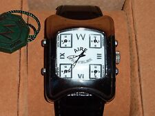 NEW $6000 Chris Aire Stainless World Traveler 5 Time Zone Watch in Leather Box