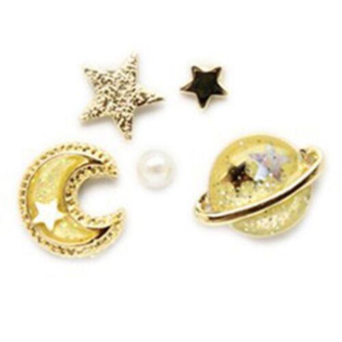 5P Moon Star Planeta Aretes encanto Joyería De Oreja Pasador Dama Cumpleaños Regalo Gq