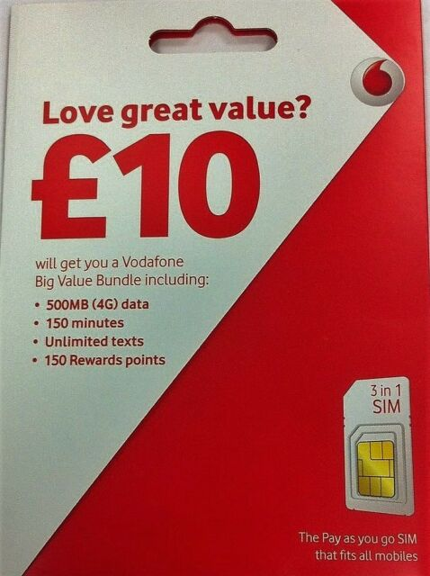 UK Vodafone sim Pay As You Go Fit all voda Phone inc iphone - samsung galaxy new