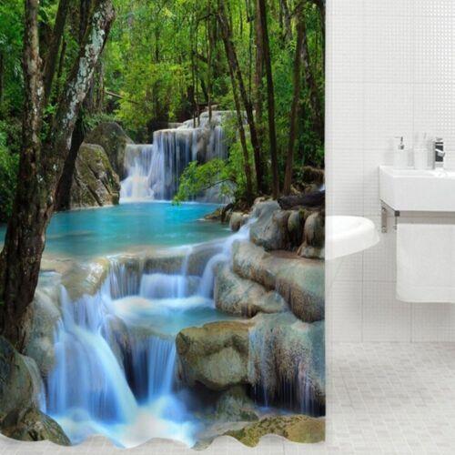 Duschvorhang Badewannenvorhang Wasserdicht Decor mit 12 Haken 3D Kaskade Textil