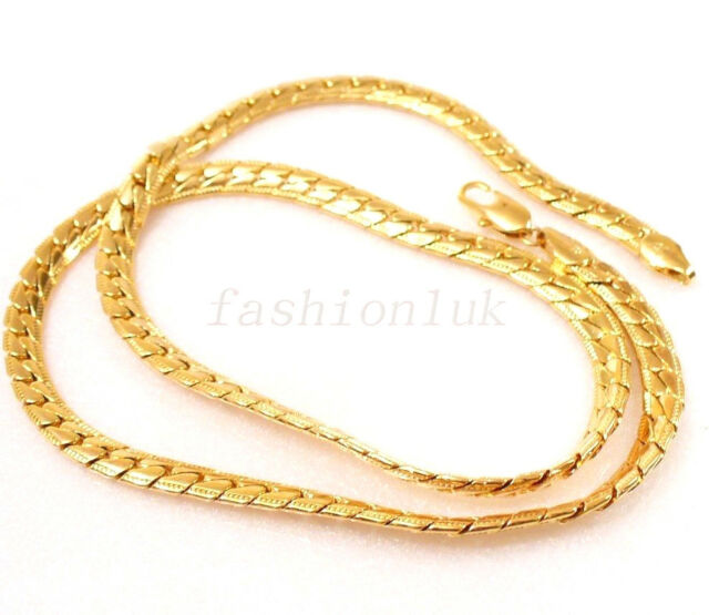 50cm 19.5 inches 18K Yellow Gold Plated Club Valentine Xmas Snake Chain Necklace