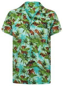 Lion-Tiger-Camisa-Hawaiana-Stag-Animal-Zoologico-Fiesta-fuerte-Floral-Para-hombre-Aloha-cerveza