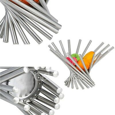 Fashion Full Stainless Steel Vortex Fruit Rack Tray Holder Bowl Basket Decor