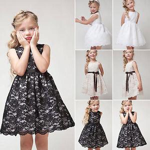 9f9f81ef1d80 Baby Girls Kids Summer Princess Sleeveless Lace Bridesmaid Plain ...