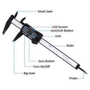 Digital-Caliper-Electronic-Gauge-Vernier-6inch-Micrometer-Ruler-150mm-Black