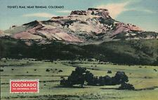 Fisher's Peak near Trinidad Colorado, Santa Fe Trail, Old Vintage Linen Postcard