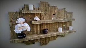 GRANDE-effetto-invecchiato-in-legno-Wall-Art-Scultura-Scaffale-scaffalature-Unita-SPECCHIO-cuori
