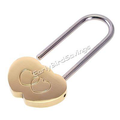 Solid Brass Love Lock Wish Lock Double Heart Padlock Everlasting Love for lovers