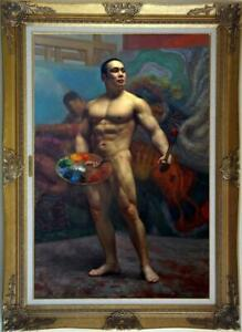 """Hand-painted Original Oil painting Portrait art male nude on Canvas 24""""X36"""""""