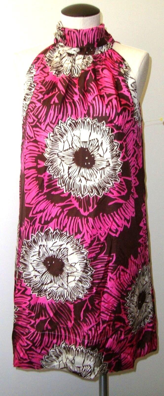NELL COUTURE Rosa braun & Weiß FLORAL TRAP A-LINE SILK BLEND DRESS SZ 2