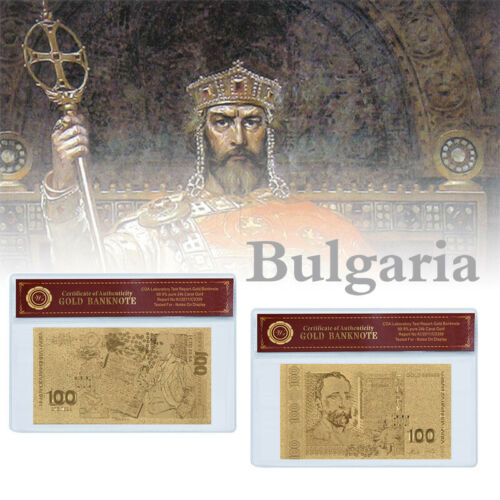 WR Bulgarian Money 100 Lev Gold Foil Banknote Collection Gift For Men In Sleeve