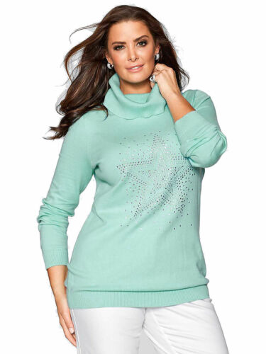 Pull taille 40//42+44//46+48//50+56//58 Femmes Strass Pull Tricoté Étoile Col Roule