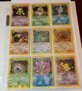 NM COMPLETE 1st edition NON-HOLO RARE Pokemon TEAM ROCKET 17-Card Set Charizard