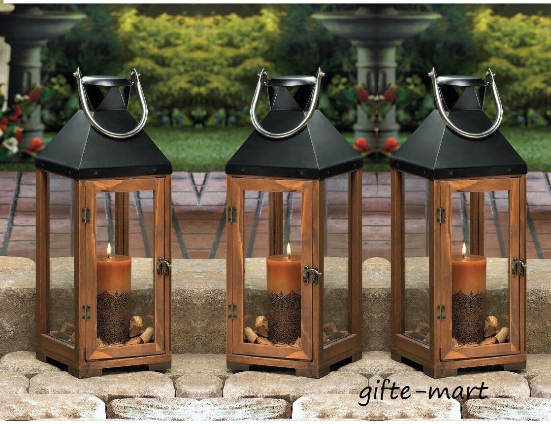 6 large brown wood & metal 20  tall Candle holder Lantern wedding decorations