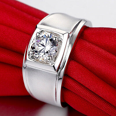 Men/'s 1ct Princess Cut Lab Created Diamond .925 Sterling Silver Ring Size 10