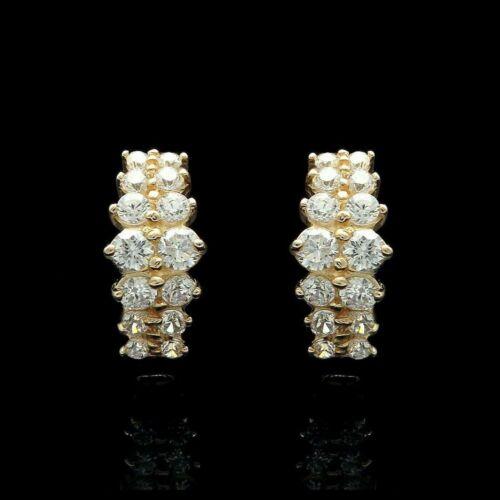 14K Yellow Gold Over 0.25 Ct Round Cut Diamond Hoop//Huggie Earrings For Women/'s